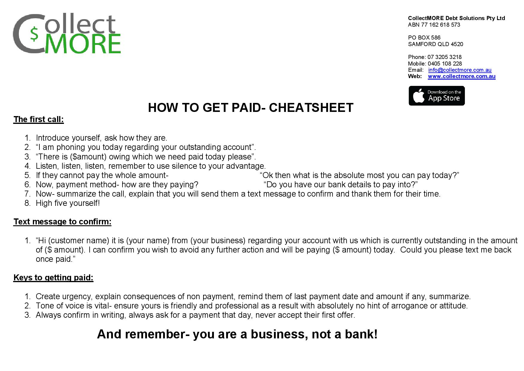 How to get paid Cheat Sheet! - Collectmore Pty Ltd